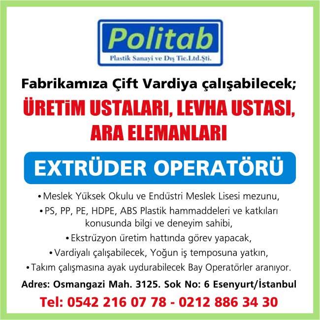 Extrüder Operatörü İş İlanları Sayfası İstanbul Eseryurt Eleman iş ilanları