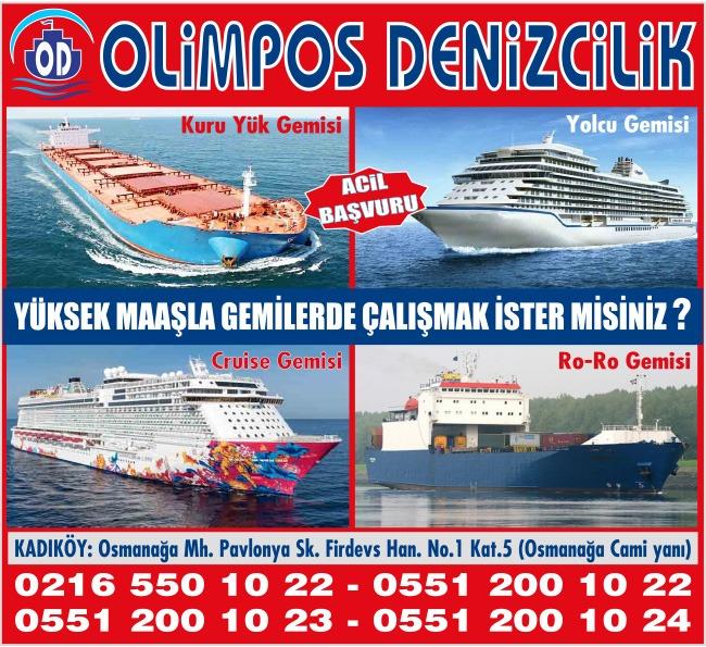 Olimpos Denizcilik İstanbul Vasıfsız İş İlanı. Yur içi Yurtdışı Gemi ve özel yatlarda, Gemilerde Çalışacak Vasıflı Vasıfsız Gemi Elemanı alınacaktır.