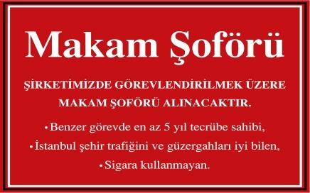 İstanbul Makam Şoförü Arayan, Makam Şoförü Arayan Firmalar, Makam Şoförü İş İlanı, Makam Şoförü İş İlanları