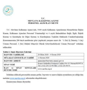 İç Denetçi - Uzman Personel - Hukuk Müşaviri İş İlanları - Konya